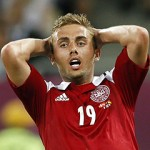 Denmark's Poulsen reacts during their Euro 2012 soccer match against Germany in Lviv