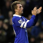 Everton's Deulofeu celebrates after scoring during their English Premier League soccer match against Stoke City in Liverpool