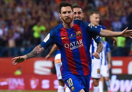 Lionel Messi abrió el marcador en la final de la Copa del Rey con un disparo colocado con su zurda al que no pudo llegar Pacheco.