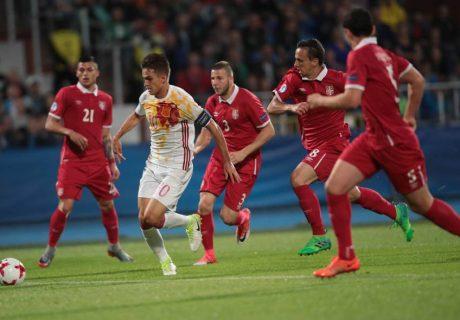 Denis Suárez fue el autor del único gol de la victoria de España Sub-21 por 1-0 frente a Serbia Sub-21.