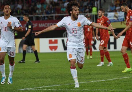 David Silva abrió el marcador ante Macedonia, volviendo a marcar un partido más bajo las órdenes de Julen Lopetegui.