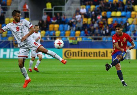 Marco Asensio marcó tres goles en el debut de España Sub-21 en este Europeo de la categoría.