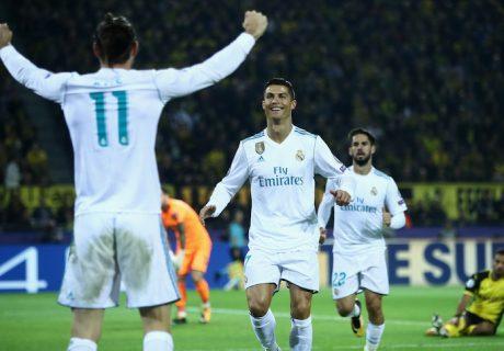 Gareth Bale asistió al Cristiano Ronaldo en el segundo tanto del Real Madrid en la victoria en Dortmund.