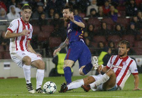 Lionel Messi marcó su gol número 100 en competiciones europeas en la victoria culé ante Olympiacos por 3-1.