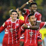Alaba, Thiago y James celebran el tercer gol, obra del defensa austríaco, en la victoria en Dortmund.