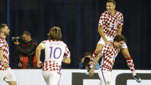 Ivan Perisic celebra su gol, que fue clave para la victoria croata ante Grecia.