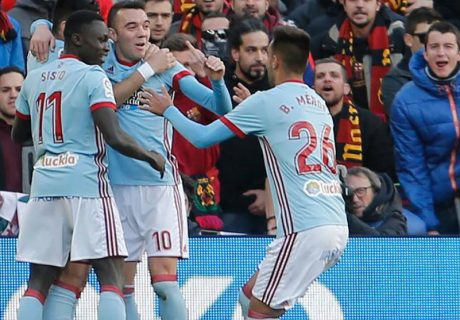 Iago Aspas abrió el marcador en Barcelona con un gol a rechace de Ter Stegen.