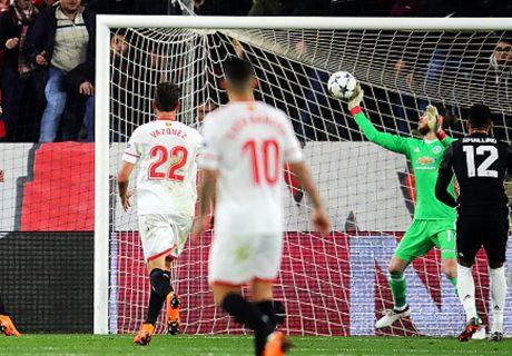Con esta extraordinaria parada, De Gea salvó al Manchester United de una justa derrota ante los hispalenses.