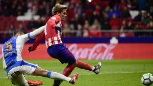 Griezmann aprovechó un gran pase de Koke para romper el empate en el marcador en la primera mitad.