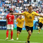 Thomas Meunier fue el autor del primer gol de Bélgica a los 4 minutos del partido ante Inglaterra.