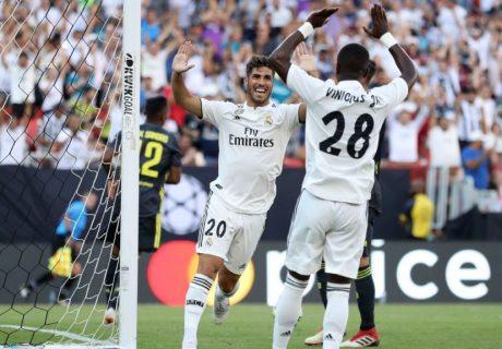 Marco Asensio marcó el primero de sus dos goles tras recibir una gran asistencia de Vinicius Jr.