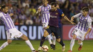 Pese al estado del césped, Messi tuvo un papel brillante en el choque en Zorrilla con tres pases de fantasía que sus compañeros no aprovecharon.